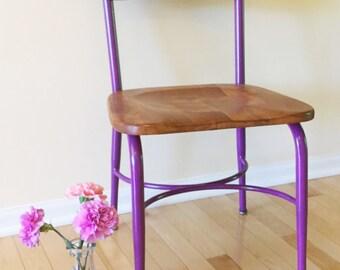 Retro School Desk Chair, Heywood Wakefield, Purple Kid's Chair, 1950's