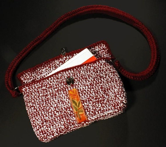 Handbag, Shoulder Bag, Tote Bag, Crochet Bag, Hand Tooled Leather Trim, Crochet and Leather Handle, Red and White Bag, OOAK