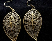 Bronze leaf earrings Large leaf earrings Bronze earrings Boho style earrings