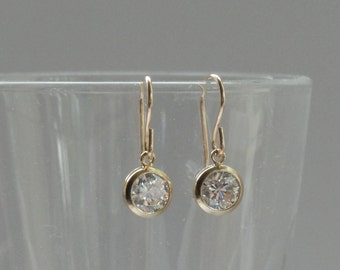 Gold cz earrings, Cubic zirconia earrings, Gold earrings, Gold fill crystal earrings, Bridal earrings