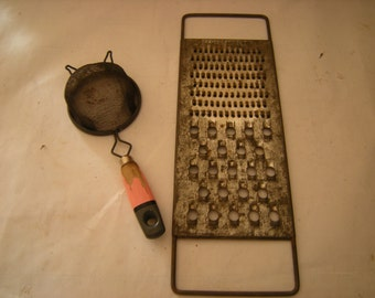 vtge kitchen utensils-grater-speed shredder-strainer-pink wood handle-kitchen display-collection-rustic-