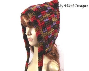 Pixie Hat, Crochet Chunky Hooded Scarf, Mulberry Violet Crochet Hat by Vikni Designs