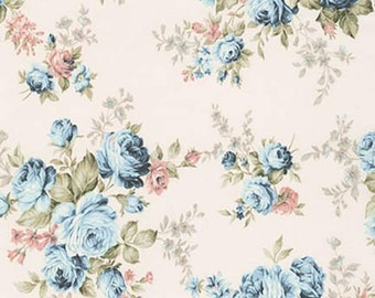Vintage Dusty Blue Rose, Antique Cream Back, Emma 2, Robert Kaufman, By 1/2 yard