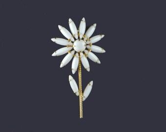 Napier Long Stemmed Flower Pin Brooch White Milk Glass Signed Vintage 1960's