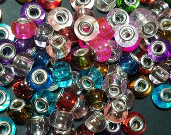 Spray Painted Glass European Beads, with Brass Cores, Large Hole Beads, Rondelle, Silver, Mixed Color, 15x12mm, Hole: 5mm  095