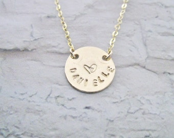 Name necklace, Love necklace, Heart necklace personalized, 14k Gold filled necklace, Personalized necklace, Child name necklace,