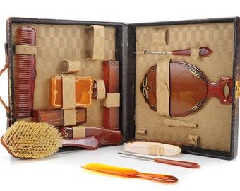Art Nouveau original c1910s Bakelite Beauty Kit w/original Carrying case