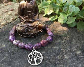 Purple Tree of Life Yoga Bracelet