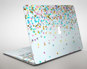 Scattered Multicolor Shapes Over Blue - Apple MacBook Air or Pro Skin Decal Kit (All Versions Available)