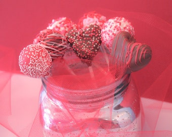 Chocolate Covered Valentine Cake Pops – Assorted Flavors – 1 Dozen