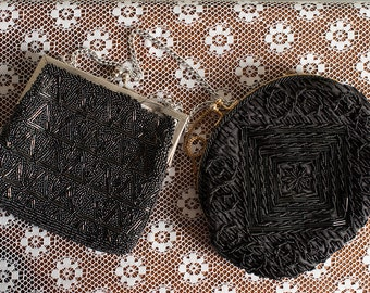 Lot of 2 Black Beaded Evening Bags