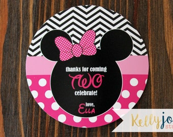 """3 Inch Round Minnie Mouse """"Oh Twodles"""" Favor Tags - Minnie Mouse """"Oh Twodles"""" Party - Minnie Mouse Favor Tags - """"Oh Twodles"""" Favor Tags"""