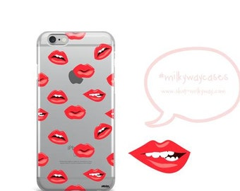 Clear TPU Case Cover for Apple iPhone - Lips