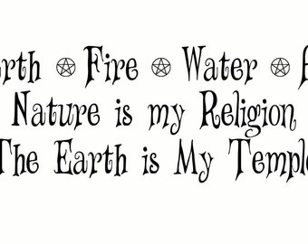"""Earth*Fire*Water*Air ~ 17.5"""" x 6.5"""" Indore Wall Decal ~ SALE + Reduced S/H"""