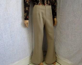 """70s 29"""" x 33"""" Polyester Men's BELL BOTTOMS Pants Taupe Beige WeirdoWear"""