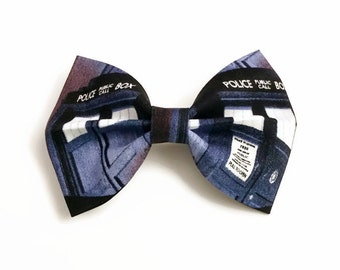 SALE Dr Who Hair Bow • Doctor Who Bow • Novelty Fabric Bow • Geekery Hair Bow • Tardis Hairbow • Gifts For Women • Tardis Bow • 13% OFf Sale