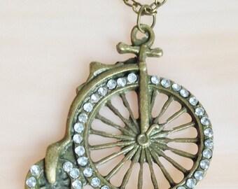 Rhinestone on Metal 'Pennyfarthing' Bike Pendant Necklace