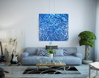 ORIGINAL IMPASTO TEXTURED Custom Made Artwork - Many Sizes - Blue Contemporary Acrylic Pallette Knife Modern Painting by Aparna Phadnis