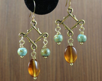Amber and Turquoise earrings ~ Outlander inspired ~ Antiqued Gold