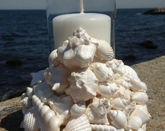 Wedding Centerpiece - Beach Decor - Shell Wreath With Candle (WCL011)