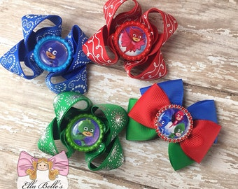 PJ Mask Bow Set~ 4 bows, owlette catboy ghecko, pj mask hairbows