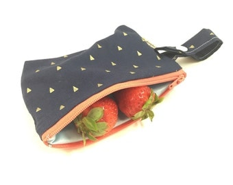Small snack bag, Zipper snack pouch, Reusable snack bag, cloth snack bag