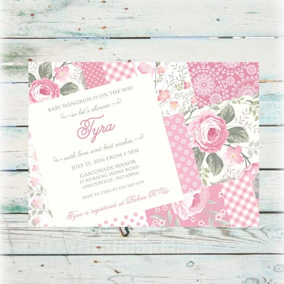 printable shabby chic baby shower invitation digital file