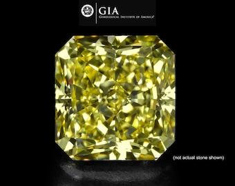 FREE SHIPPING - 1 Carat GIA Fancy Light Yellow Loose Radian Diamond, Fancy Yellow Diamond, Natural Yellow Radian Cut Diamond