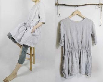 319---Women's Gray Tunic Dress, Washed Ramie Swing Dress.