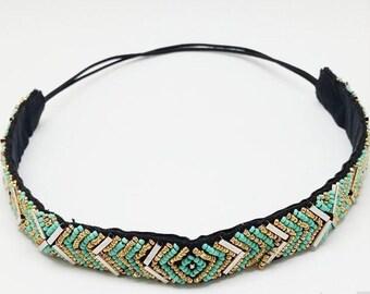 Flapper headband, bridal party 1920s headband head piece beaded headband Great Gatsby workout joga prom headband