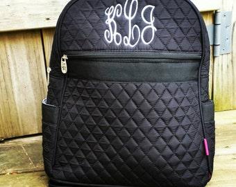 Black quilted Backpack, Boys backpack, grade school backpack, School backpack, Custom Backpack, Embroidered Backpack, Monogrammed Backpack