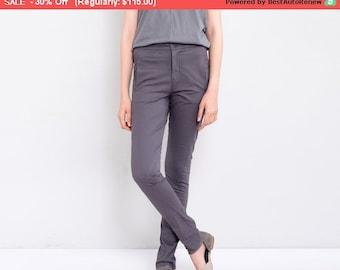 Final SALE ! Dark Grey Pants, Skinny Pants, Women Trousers, Long Cotton Pants