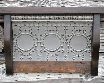 Tin Shelf Antique Tin Ceiling Tile Wall Shelf Primitive Rustic Vintage French Country Decor Salvaged Reclaimed SH132