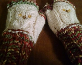 Varigeted Rust Cabled owl fingerless mittens