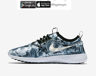 LAST PAIR!  Will ship within 24 hours all 4 swoosh logos!  Nike Juvenate Floral Print Bling Shoes Customized with Swarovski Crystals