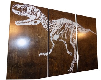 Fossil Velociraptor DINOSAUR SKELETON  Screen Print Wood Painting Wall Art on Stained Solid BIRCH 3/4 inch thick