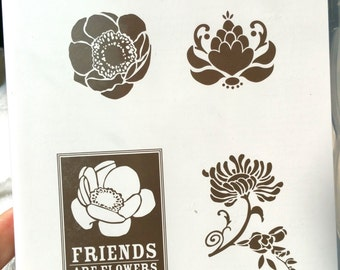 Stampin' UP Friends Never Fade Rubber Stamp Set New Clear Mount Stampin Up Flower Stamp, REtro Friend stamp, Friend Sentiment Stamp, Shelli