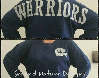 Long Sleeve Custom Women's High School Football Team Jersey Shirt / Varsity Football Shirt / Football Mom Shirt