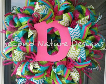 Personalized Spring or Summer Deco Mesh Wreath with Initial of Choice