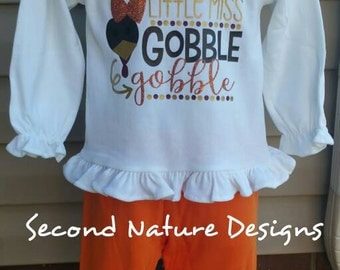 Girl's Little Miss Gobble Gobble Ruffle Shirt and Pant Set / Girls Ruffle Thanksgiving Outfit / Girl's Fall Turkey Shirt Set