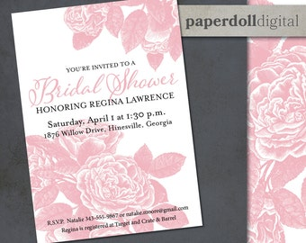 "Printable Floral Bridal Shower Invitation Download - 5""x7"" Custom Printable Bridal Shower Invitation - Vintage Style Floral Bridal Invite"