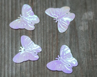 100pic Pink White Butterfly Sequins, Iridescent White Sequins, Wedding Sequins, Sequins, Sewing Sequin, Butterfly Confetti, Party Confetti