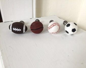 Sports knob, drawer pulls, choose you sport, football, baseball, basketball or soccer