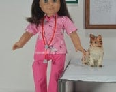 """Hello Kitty vet scrubs for 18"""" dolls such as American girl, shoes, stethoscope, hairband, pink, white, meow, animal clinic 4 pc. outfit"""