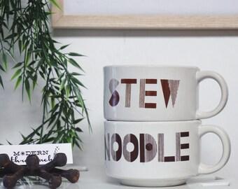 ON SALE Vintage Soup Mug Set of 2 - Stew And Noodle Handled Bowls - Ceramic Soup Cups