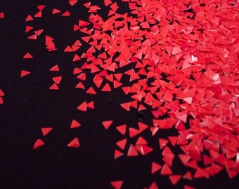 solvent-resistant glitter shapes-neon red triangles