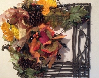 Wreath for Fall, Winery Wreath, Fall Wreath, Square Wreath, Grapevine Square, Grapevine Wreath, Fall Decor,  Front Door Wreath,