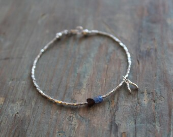 Sterling silver bracelet, Sapphire and Obsidian, Remember me wish bracelet