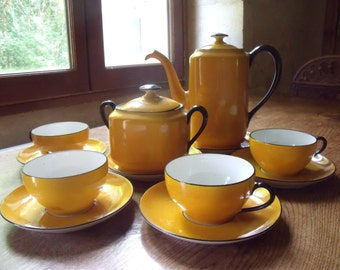 French  Limoges Unique coffee set , 12 pieces , art deco period , very nice condition