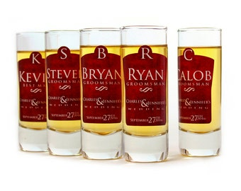 Wedding Favors // Shot Glasses // Set of 6 Personalized Groomsman Gifts